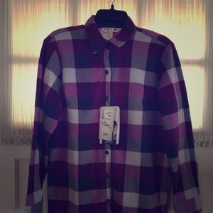 NWT Lee Soft Brushed Flannel Slimming Shirt